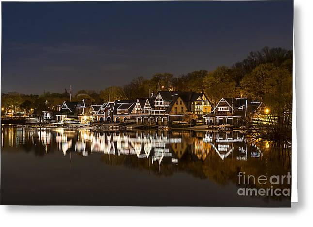 Building Greeting Cards - Boathouse Row Greeting Card by John Greim