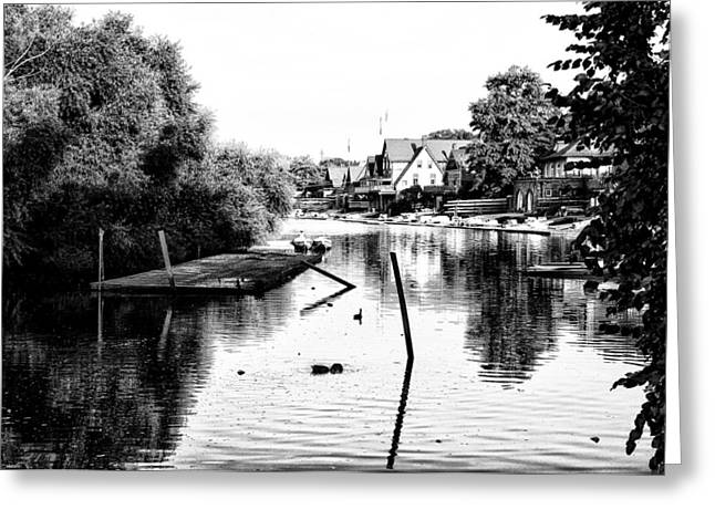 Rowing Crew Greeting Cards - Boathouse Row Lagoon in Black and White Greeting Card by Bill Cannon
