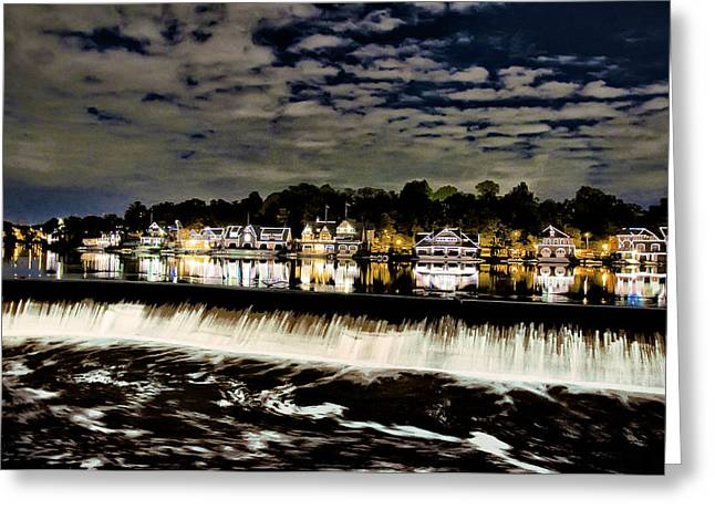 Boathouse Row Lights Greeting Card by Bill Cannon