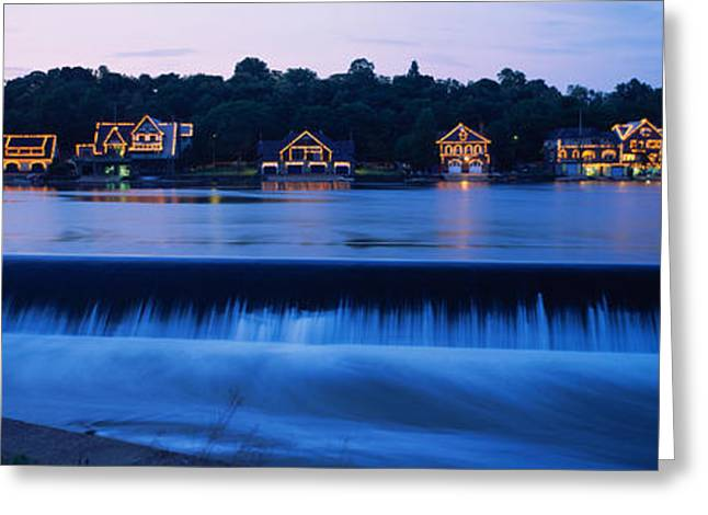 Evening Scenes Greeting Cards - Boathouse Row Lit Up At Dusk Greeting Card by Panoramic Images