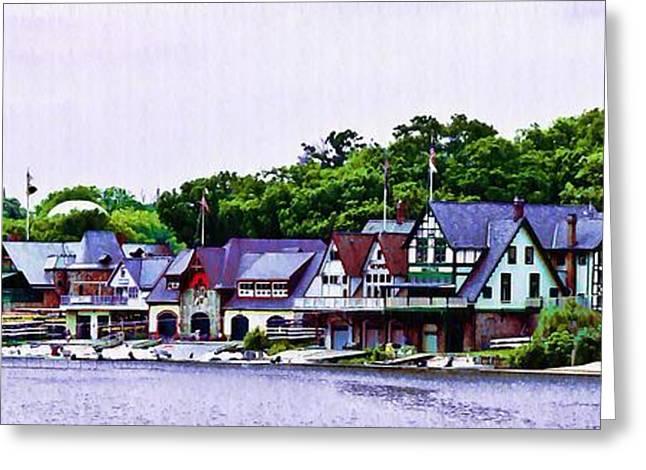 Phila Digital Greeting Cards - Boathouse Row Panarama Greeting Card by Bill Cannon