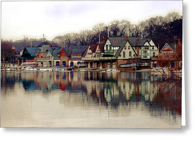 Boathouse Row Philadelphia Greeting Card by Tom Gari Gallery-Three-Photography