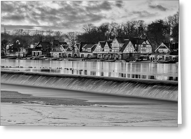 Boat House Row Greeting Cards - Boathouse Row Philadelphia PA BW Greeting Card by Susan Candelario