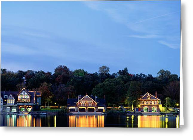 Image Repeat Greeting Cards - Boathouse Row Philadelphia Pennsylvania Greeting Card by Panoramic Images