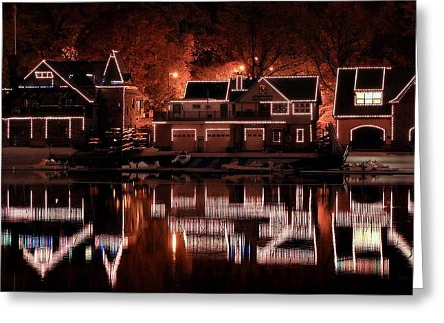 Boathouse Row Greeting Cards - Boathouse Row Reflection Greeting Card by Deborah  Crew-Johnson