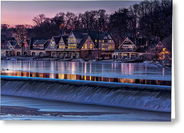 Boathouse Row Greeting Card by Susan Candelario