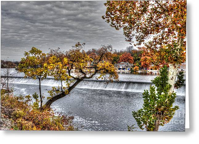 Williams Dam Greeting Cards - Boathouse Row through the Foliage Greeting Card by Mark Ayzenberg