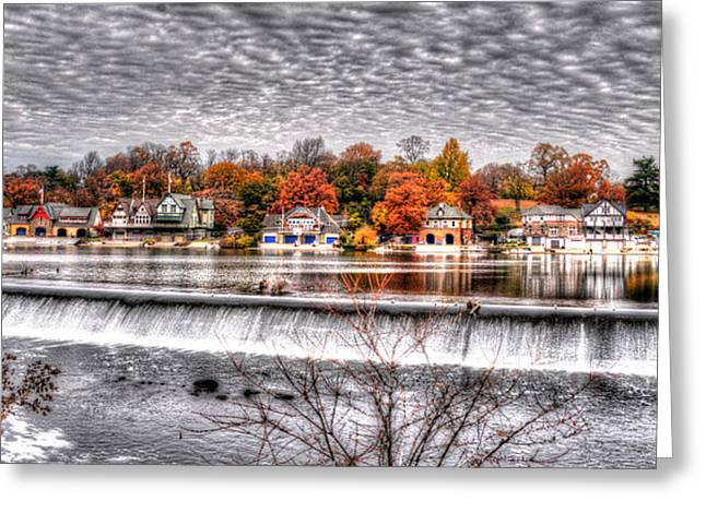 Williams Dam Greeting Cards - Boathouse Row Under the Clouds Greeting Card by Mark Ayzenberg