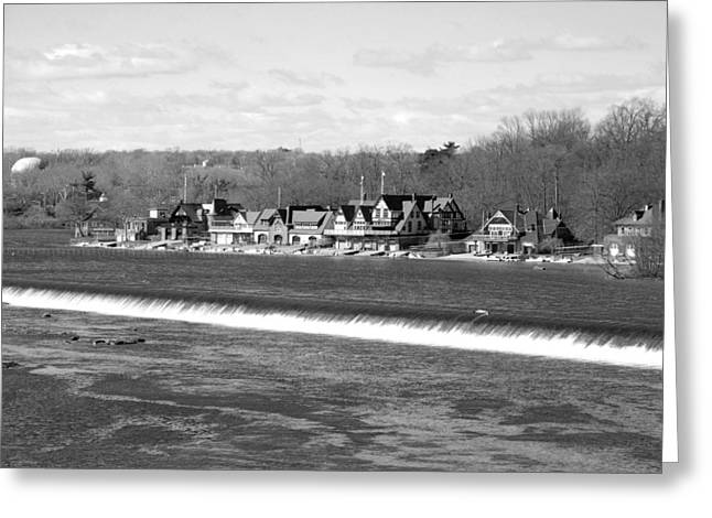 Boathouse Row winter b/w Greeting Card by Jennifer Lyon