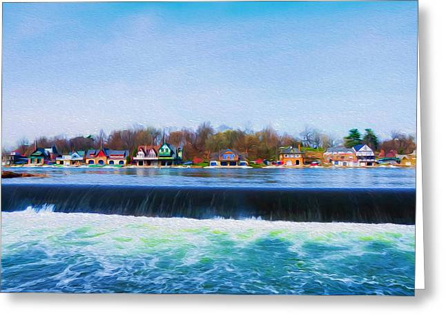 Boathouse Row Greeting Cards - Boathouse Row with the Fairmount Dam Greeting Card by Bill Cannon