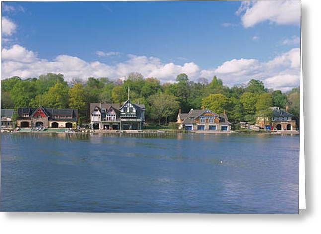 Schuylkill Greeting Cards - Boathouses Near The River, Schuylkill Greeting Card by Panoramic Images