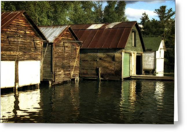 Tin Roof Digital Art Greeting Cards - Boathouses on the River Greeting Card by Michelle Calkins