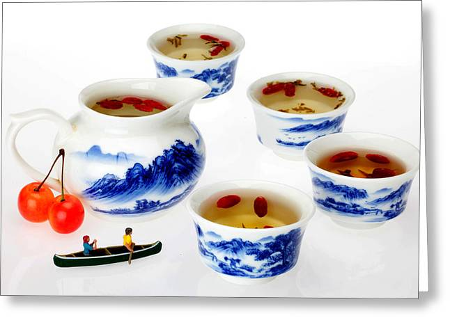 Creative People Greeting Cards - Boating among china tea cups little people on food Greeting Card by Paul Ge
