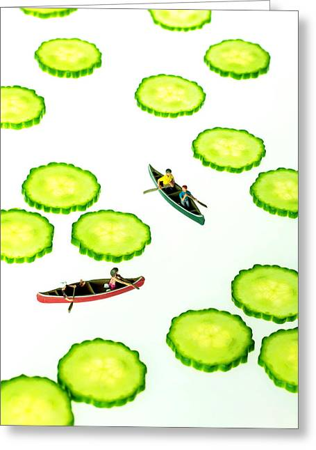 Toy Boat Greeting Cards - Boating among cucumber slices miniature art Greeting Card by Paul Ge