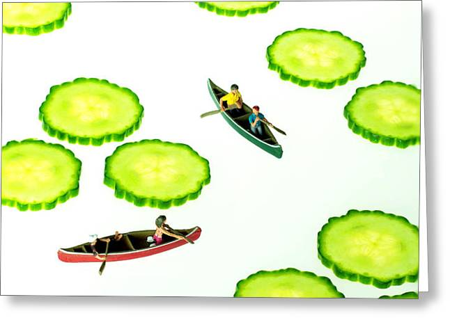 Boating among cucumber slices miniature art Greeting Card by Paul Ge