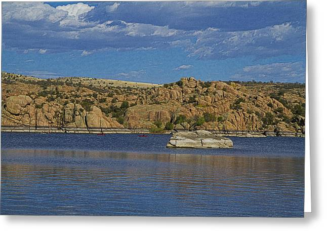 Watson Lake Greeting Cards - Boating at the Dells Greeting Card by Tom Kelly