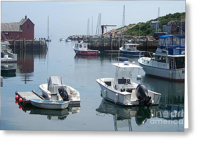 Seascape With A Boat Greeting Cards - Boating Community Moored Up In A Small New England Fishing Community Greeting Card by Eunice Miller