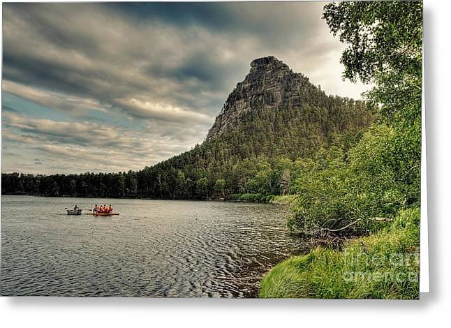 Row Boat Greeting Cards - Boating in Kazakhstan Greeting Card by Emily Kay