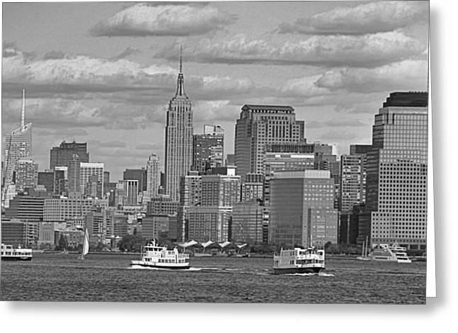 Rip Tide Greeting Cards - Boating In New York City Black And White Greeting Card by Dan Sproul