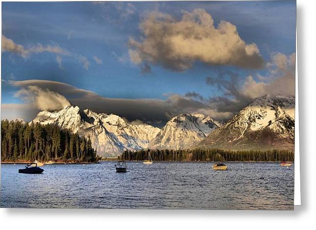 Cloud Reflections In Water Greeting Cards - Boating In The Tetons Greeting Card by Dan Sproul
