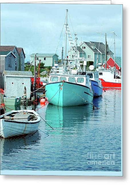 Fishing Boats Greeting Cards - Boating In The Village Greeting Card by Kathleen Struckle