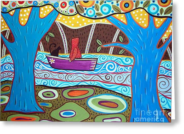 Cat Boat Greeting Cards - Boating Greeting Card by Karla Gerard