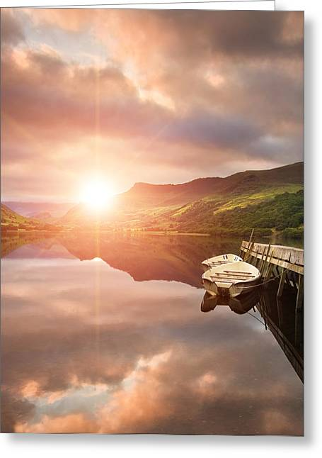 Colorful Cloud Formations Greeting Cards - Boating lake sunrise Greeting Card by Matthew Gibson