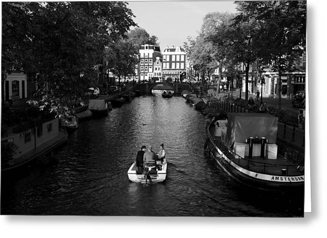 Eating Out Greeting Cards - Boating On The Canals Of Amsterdam Greeting Card by Aidan Moran