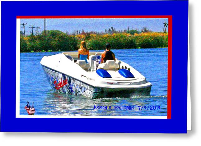 4th July Digital Greeting Cards - Boating on the Fourth of July Greeting Card by Joseph Coulombe