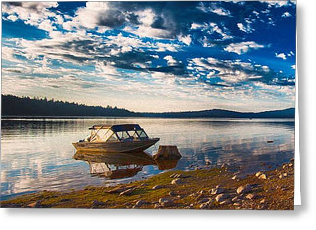 Owfotografik Greeting Cards - Boating Peacefully on Howard Prairie Lake Greeting Card by Omaste Witkowski
