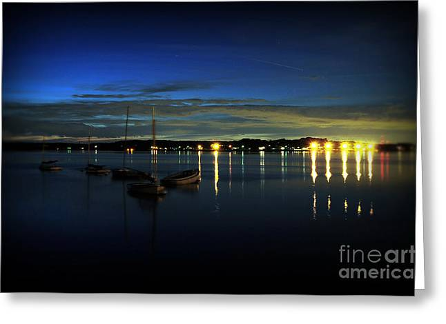 Docked Sailboats Photographs Greeting Cards - Boating - The Marina at Night Greeting Card by Paul Ward