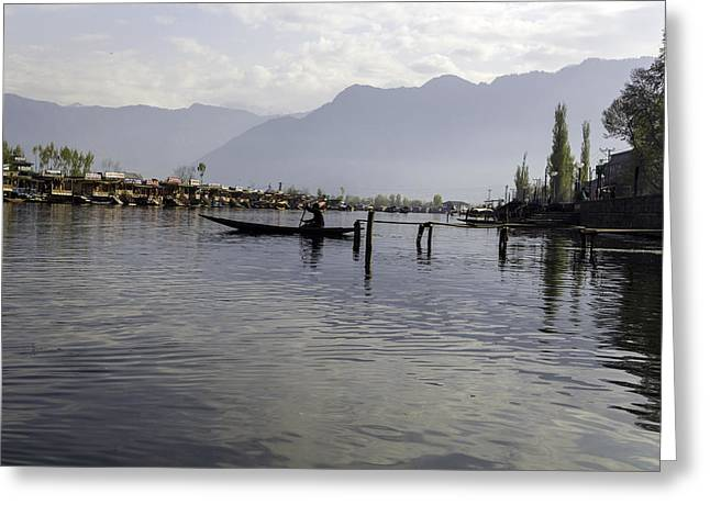 Ply Greeting Cards - Boatman on a small wooden boat near the shore of the Dal Lake Greeting Card by Ashish Agarwal