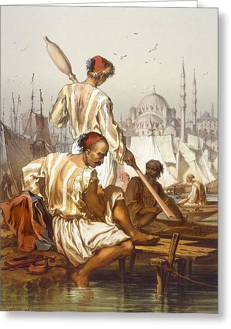 Hagia Sophia Greeting Cards - Boatmen, 1865 Greeting Card by Amadeo Preziosi