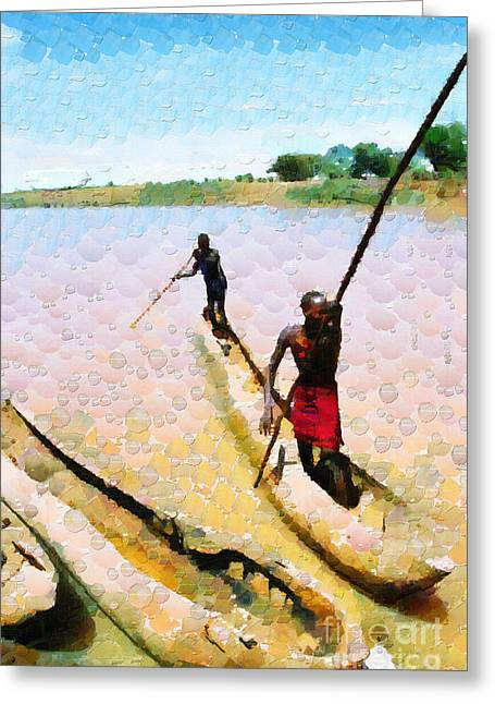 Reserve Greeting Cards - Boatmen painting Greeting Card by George Fedin and Magomed Magomedagaev
