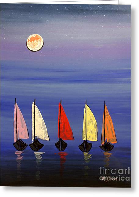 Ble Sky Greeting Cards - Boats 3  Greeting Card by Artist  Singh