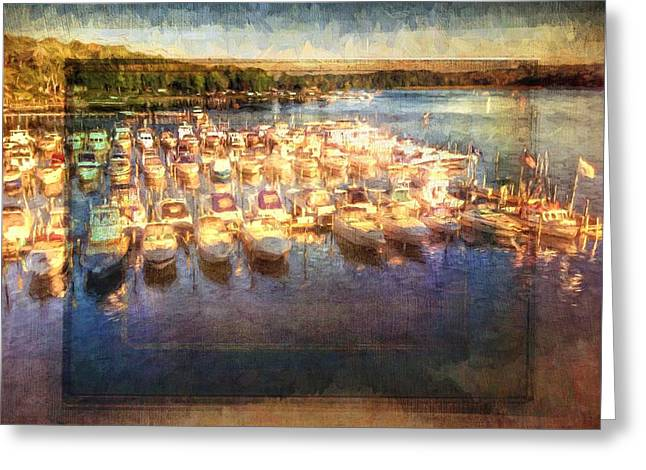 Boats At Dock Greeting Cards - Boats All Moored Greeting Card by Alice Gipson