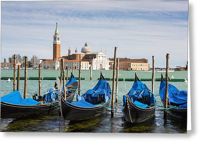 Awesomeness Greeting Cards - Boats Anchored At Marina Venice, Italy Greeting Card by Richard Desmarais