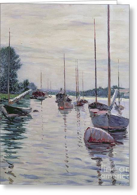 Boats On Water Greeting Cards - Boats Anchored on the Seine Greeting Card by Gustave Caillebotte