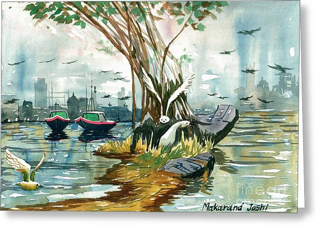 Urban Images Greeting Cards - Boats and birds in a creek Greeting Card by Makarand Joshi