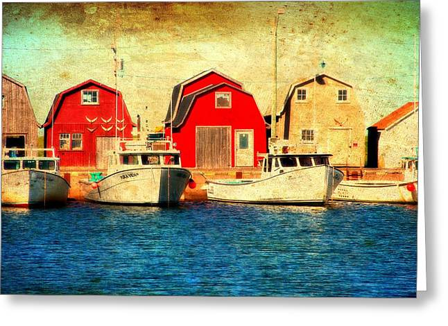 Blue Sailboats Greeting Cards - Boats and Boat Houses PEI Photograph  Greeting Card by Laura  Carter