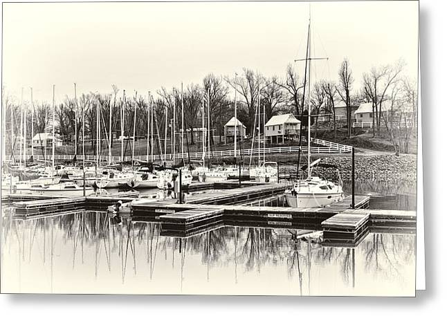 Boats and Cottages in b/w Greeting Card by Greg Jackson