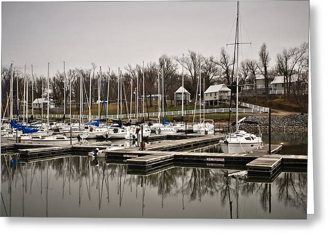 Boats and Cottages on Overcast Day Greeting Card by Greg Jackson