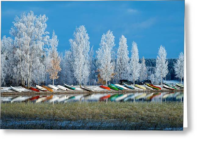 Lakescape Greeting Cards - Boats and Frost Greeting Card by Ari Salmela