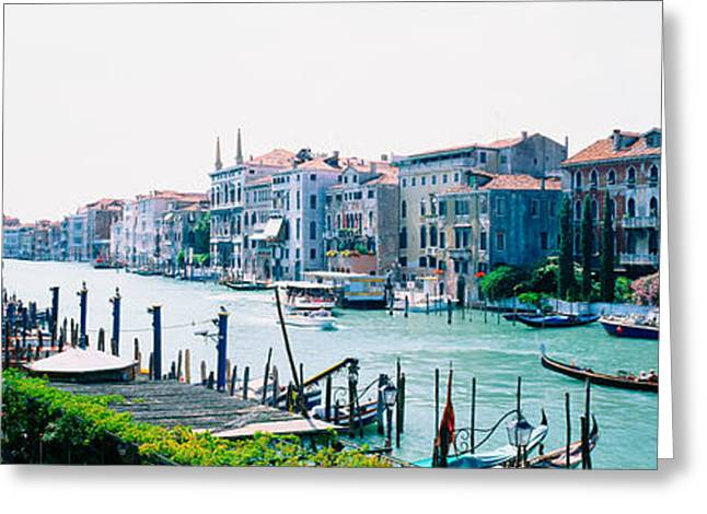 Italian Culture Greeting Cards - Boats And Gondolas In A Canal, Grand Greeting Card by Panoramic Images