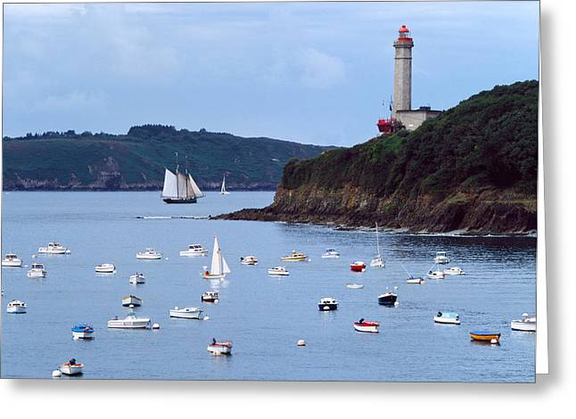 Sailboat Images Greeting Cards - Boats And Lighthouse At Phare Du Greeting Card by Panoramic Images