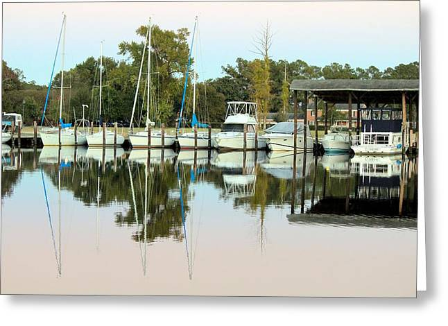 Boats And Reflections Greeting Card by Carolyn Ricks