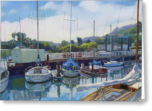Sausalito Paintings Greeting Cards - Boats and yachts Greeting Card by Dominique Amendola