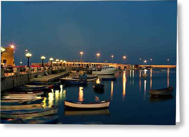 Water Vessels Greeting Cards - Boats At A Harbor, Bari, Itria Valley Greeting Card by Panoramic Images