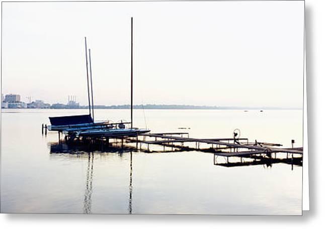 Masts Greeting Cards - Boats At A Harbor, Lake Monona Greeting Card by Panoramic Images