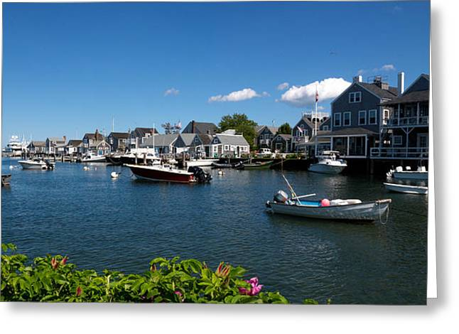 New England Ocean Greeting Cards - Boats At A Harbor, Nantucket Greeting Card by Panoramic Images